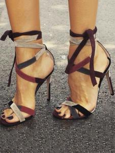 Sandálias de salto alto Sapatos femininos elegantes Sandália com laços abertos