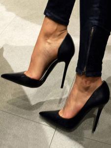 Zapatos de tacón de puntera puntiaguada de satén negros Color liso de tacón de stiletto