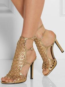 Sandalias para novias de puntera abierta de tacón de stiletto Talla grande de PU doradas con diseño hueco