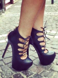 Scarpe con tacchi alti sexy nere con Tubo di Low-Tops PU PU mandorla tacco a fino 14cm Taglia forte chic & moderne con annodature da rave party donna