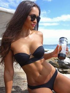 Bikini monocolore Costumi da Bagno Nero  Costumi vita alta senza spalline Abbigliamento  Donna da spiaggia di poliestere donna Vita bassa 2-Pezzi