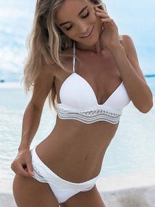 Белый купальник бикини 2020 Холтер с низкой талией Женский пляжный купальный костюм