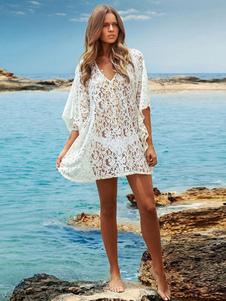 Белые женщины Beachwear V Шея Half Sleeve Flare Sleeve Кружево Cover Up
