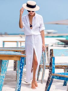 غطاء أبيض يصل انتشار طوق عالية الشق كم طويل زر حتى النساء بحر