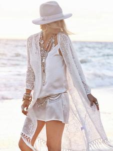 Кружевная женская пляжная одежда Fringe Batwing Sleeve Sheer White Coverup