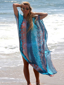 Blue Women Beachwear Kaftan Cover Up Ethnic Print V Шея с половиной рукавом Slit Купальный костюм
