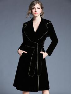 Abrigo de terciopelo con manga larga negro Cuello convertible con rebete estilo moderno