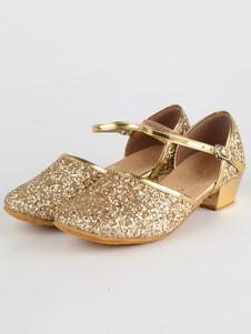 Zapatos de bailes latinos para niñas de puntera redonda de tacón gordo Tela-brillantes para baile