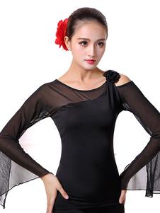 Disfraz Carnaval Traje de baile latino de rayón fibra de poliéster Color liso estilo femenino negro Carnaval