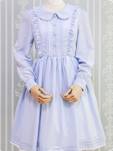 Sweet Lolita OP One Piece платье с длинным рукавом Peter Pan Collar Ruffles Aqua Lolita Dress