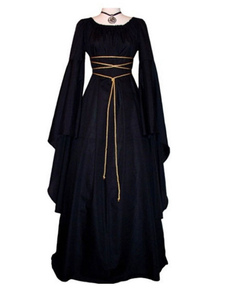 Black Vintage Costume Gothic Long Sleeves Maxi Dress For Women's Dress Halloween