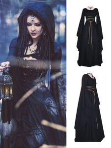 أسود خمر زي القوطية طويلة الأكمام فستان ماكسي هالوين للنساء