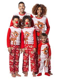 Подходящая семья Рождественская пижама Красный печатный комбинезон Baby Onesie
