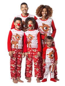 Pijamas De Natal De Família Correspondente Para Mulheres Calças Vermelhas Com Top Morning Pjs