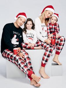 Costume Carnevale Pigiami Kigurumi Famigilia di Natale Natale Inverno rossi per uomi misto cotone set pantaloni Natale per adulti Cotone misto