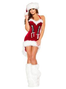 Костюм Рождества Санта-Клауса Красное Велюровое Мини-платье с шляпой и ботинками для женщин