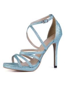 Sandalias para novias de puntera abierta de tacón de stiletto Sandalias Tela-brillantes estilo moderno