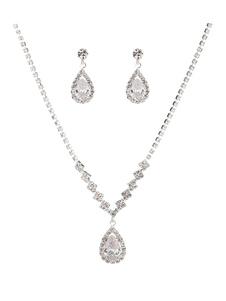 Серебряный свадебный комплект ювелирных изделий Rhinestones Drop с серьгами