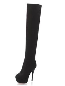 Черные сапоги для женщин с высокими ботинками Высокие каблуки с высокой плотностью передних сапог