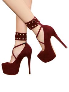 Zapatos de plataforma de tacón de stiletto estilo modernode puntera de forma de almendra Cuero con apariencia suave para mujer para uso en club Zapatos de tacón alto
