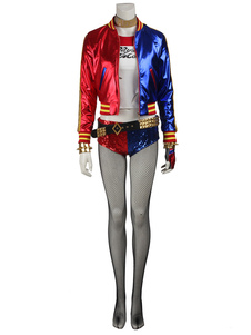 DC Comics Suicide Squad Film Harley Quinn Cosplay Jacket With Sequin Panty