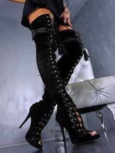 Stivali sexy neri tacco basso(<1.5cm)