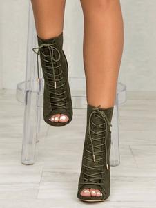 Sandali stivali stivali corti casuale nubuck verde olivi a punta aperta tacco a fino 10cm con annodature