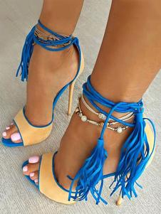 Sandali lacci blu A punta aperta casuale tacco a fino 10cm di pelle di camoscio Suola di Gommaantiscivolo Estate donna
