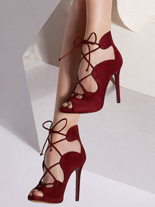 Женские туфли с сандалиями из бургундского гладиатора Peep Toe Lace Up High Heel Sandals
