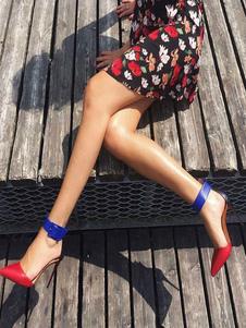 Zapatos de tacón alto de mujer con tacones puntiagudos Zapatos de tacón de aguja con detalle de hebilla roja