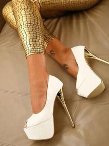 Zapatos de plataforma de tacón de stiletto estilo modernode punter Peep Toe de PU para mujer para uso en club Zapatos de tacón alto