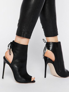 Sandali stivali stivali fuori pU neri a punta aperta tacco a fino 10cm