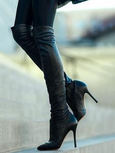 Черные над сапогами сапога Высокие каблуки Сапоги с точечной палкой на бедрах Высокие сапоги