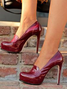 Borgonha Saltos altos Sapatos femininos Redondo Toe Slip On Pumps