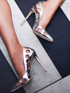 Silver High Heels Pointed Toe Heels Patent PU Cut Out Slip On Pumps For Women