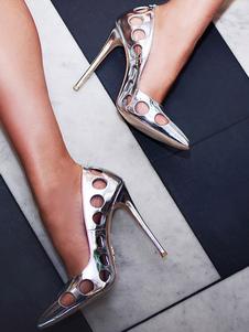 Zapatos de tacón de puntera puntiaguada Charol PU plateados Color liso con diseño hueco de tacón de stiletto