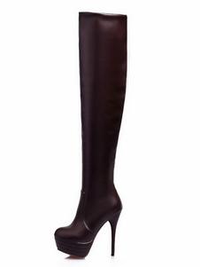 Высокие каблуки сапоги женщин над сапогами колена белая платформа бедра высокие сапоги