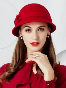 Красный Vintage Cloche Шляпы Луки Женщины Шляпа Hat