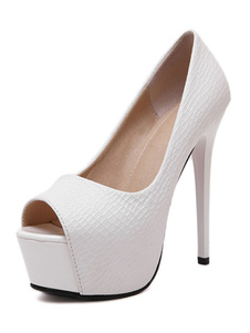 Zapatos Peep toe de PU estilo modernoColor liso de tacón de stiletto para mujer