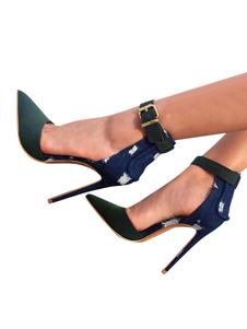 Mulheres Salto Alto Azeitona Apontou Toe Saltos Camurça Salto Stiletto Ankle Strap Bombas