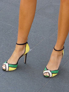 Высокие каблуки сандалии зеленый Peep Toe лодыжки ремешок сандалии обувь женщин обувь