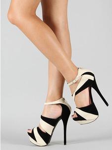 Высокие каблуки сандалии женщин сексуальная обувь черный Peep Toe платформы сандалии обувь