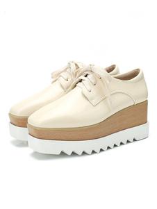 Zapatos de puntera cuadrada con cinta Charol PU Color liso estilo modernode tacón de cuña para ocasión informal Primavera/Otoño