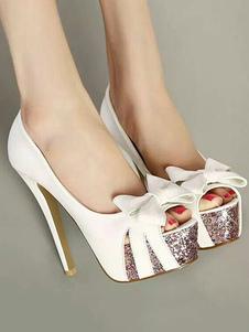 Белые высокие каблуки Peep Toe Platform Heels Glitter Bow Slip на насосах для женщин