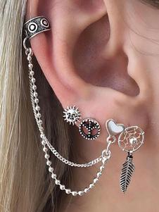 Pendientes de botón de plata Set Boho Leaf de corazón de cadena Ear Ear para mujer