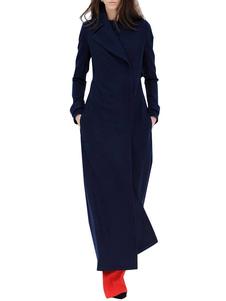 Женщины Шерсть Пальто с длинным рукавом Notch Воротник Deep Blue Зимние платья пальто
