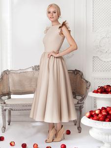 Vestido comprido com franzido de poliéster Primavera cor sólida gola redonda glamoroso & dramático