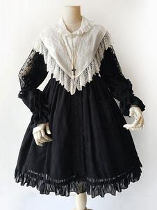 Классический Lolita Cloak Infanta Lace Ruffles Turndown Collar White Lolita Вверх