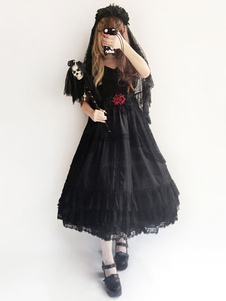 Свадебное платье Lolita Infanta Черное кружево шифонное кольцо для шеи с оборками с коротким рукавом Lolita OP One Piece Dress