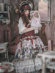 الحلو لوليتا JSK البلوز تنورة انفانتا بيت الدمية أكمام الشيفون الكشكشة رواية مطبوعة بني غامق لوليتا اللباس مع BOWKNOT